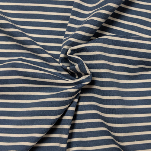 Stone Blue and White Stripes - Jersey Knit
