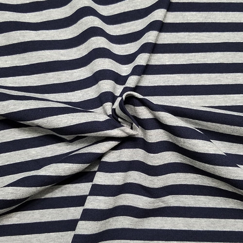 Navy and Heather gray Stripes - Jersey Knit