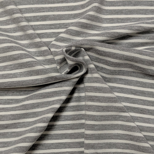 Heather Gray and White Stripes (medium) - Jersey Knit