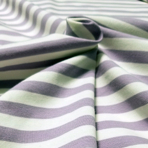 White and Lilac Stripes - Jersey Knit