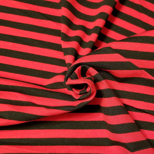 Black and Red Stripes - Jersey Knit