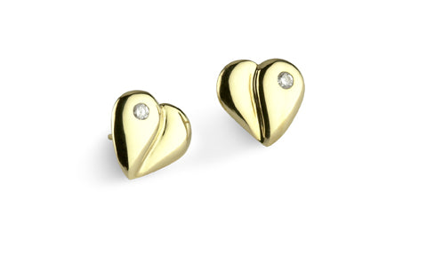 Loving Heart - Diamond Solitaire Earrings