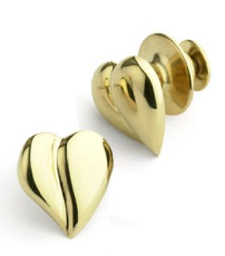 Loving Heart Pins for Two - 14K Yellow Gold