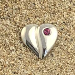 Loving Heart Pin with gemstone - Sterling Silver