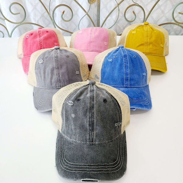 CC Distressed Single Slot Pony Ball Cap