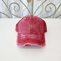 CC Distressed Solid Color Pony Ball Cap
