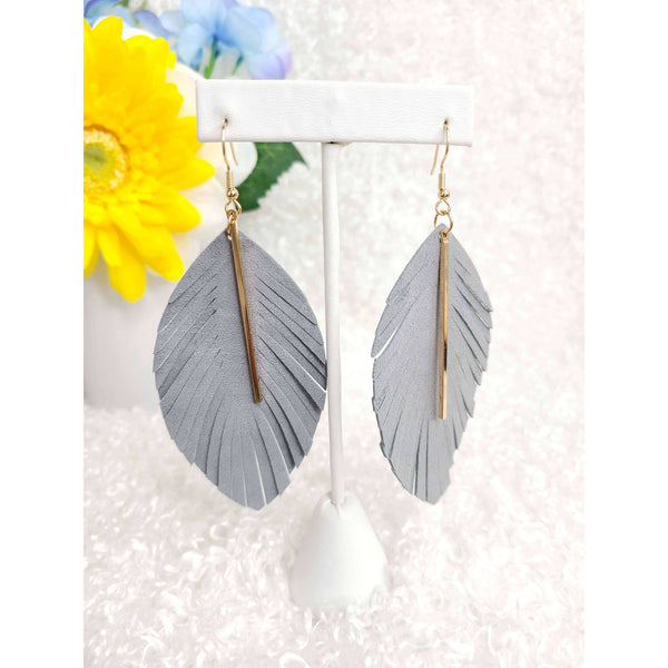 Summer Storm Faux Leather Feather Earring