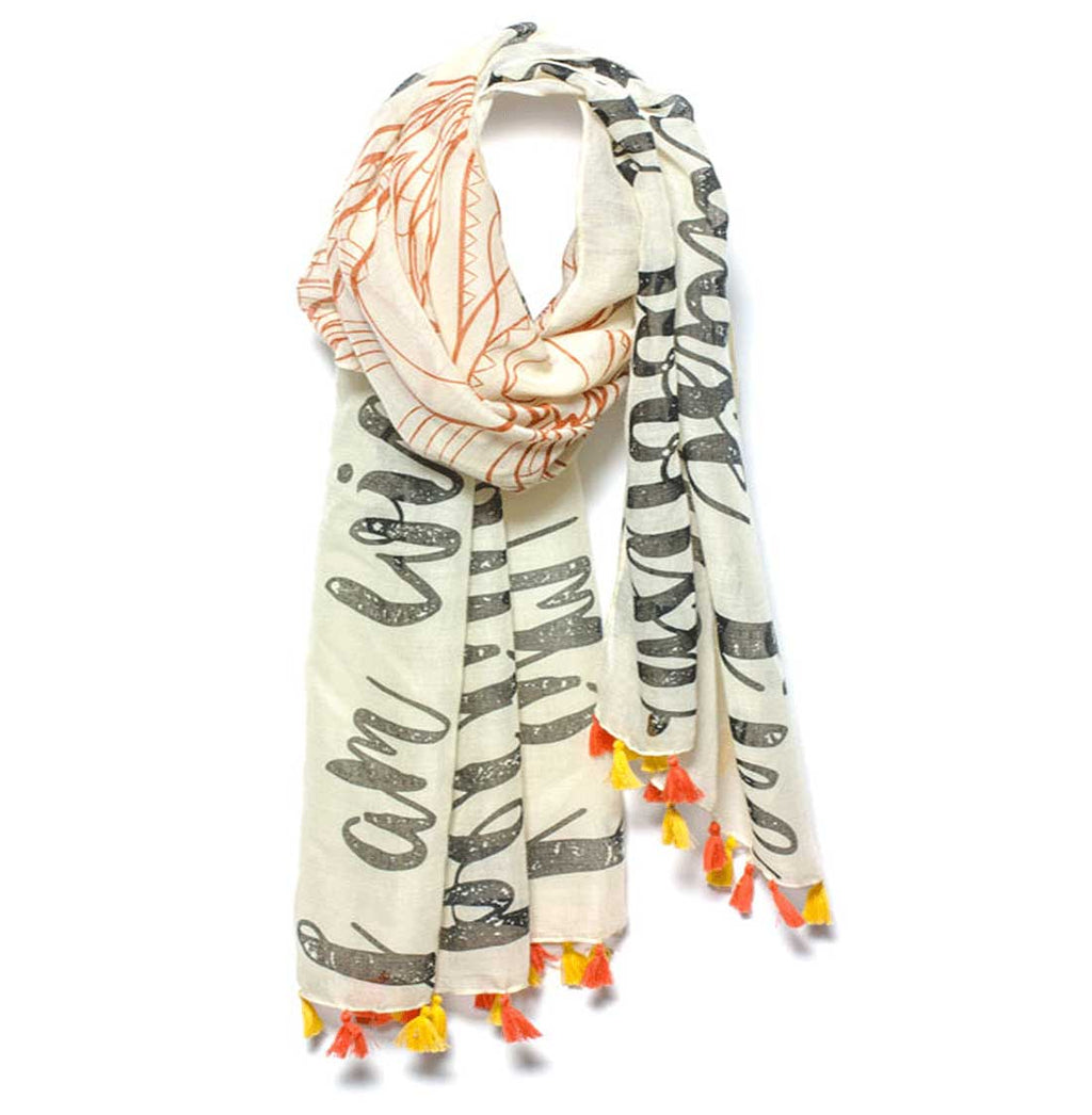 "Mantra Scarf ""I Am Strong"" Mantra Scarf ""Be Mindful"" Mantra  mindulness mantra affirmations intentions scarf pompom scarf"