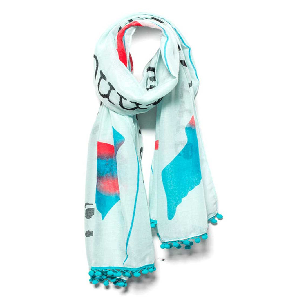 "Mantra Scarf ""Let Go of What You Cannot Change"" Mantra Scarf ""Be Mindful"" Mantra  mindulness mantra affirmations intentions scarf pompom scarf"