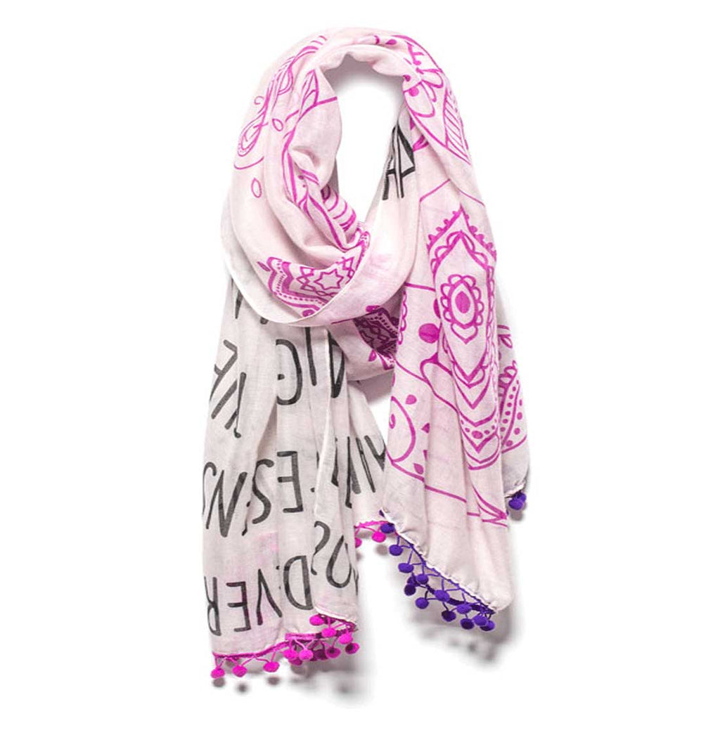 "Mantra Scarf ""Everything Happens for a Reason"" Mantra Scarf ""Be Mindful"" Mantra  mindulness mantra affirmations intentions scarf pompom scarf"