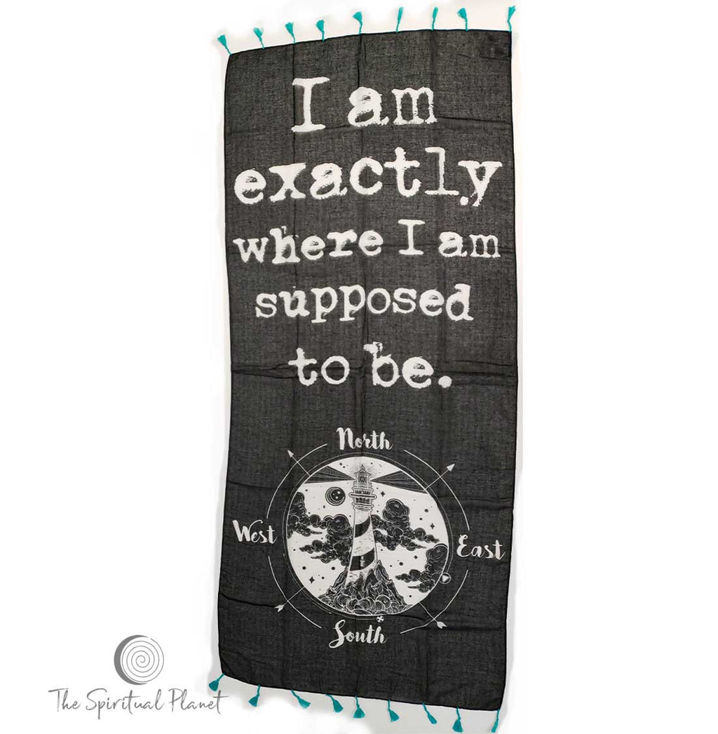 "Mantra Scarf ""I Am Exactly Where I Am Supposed to Be"" Mantra Scarf ""Be Mindful"" Mantra  mindulness mantra affirmations intentions scarf pompom scarf"