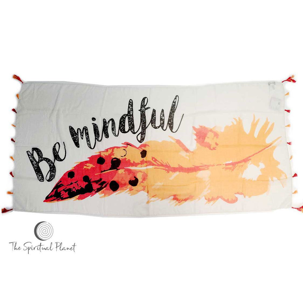 "Mantra Scarf ""Be Mindful"" Mantra  mindulness mantra affirmations intentions scarf pompom scarf"