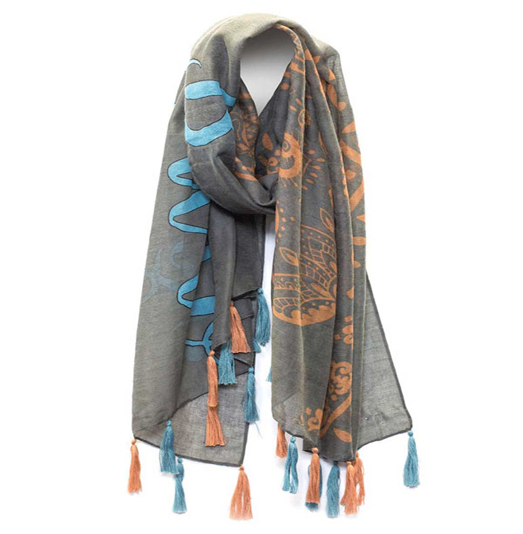 "Mantra Scarf ""Be the Energy You Want to Attract"" Mantra Scarf ""Be Mindful"" Mantra  mindulness mantra affirmations intentions scarf pompom scarf"