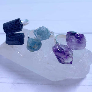 black tourmaline ring amethyst ring aquamarine ring crystal jewelry