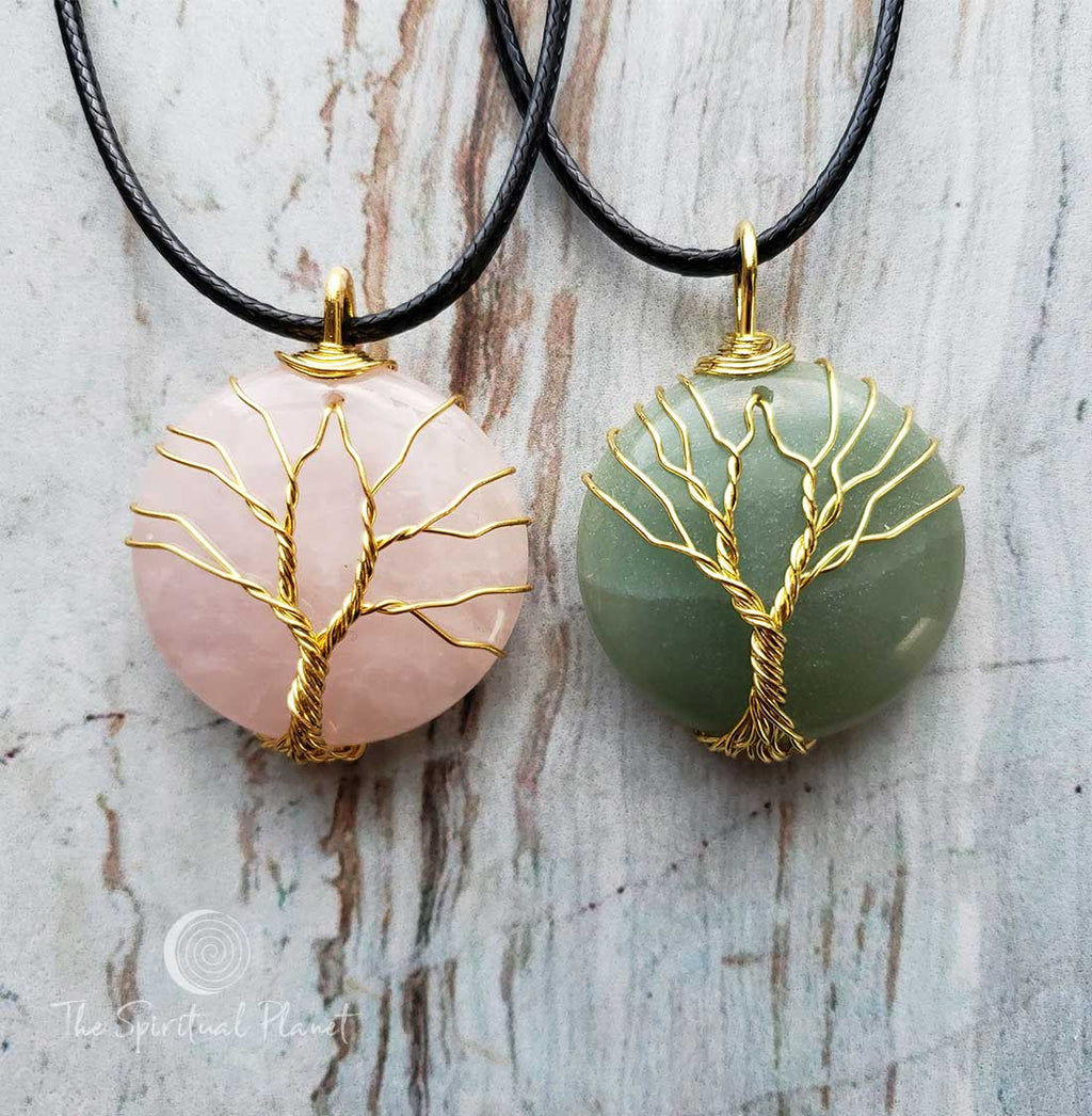 Tree of Life Circle Necklace, Silver Tree of Life Teardrop Necklace, wire wrapped stone, rose quartz, green aventurine, amethyst, necklace