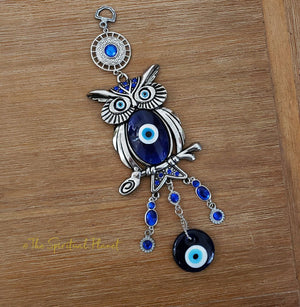 Owl Evil Eye Hanging Moon and Stars Wind Chime wallhanging bells moon stars chimes evil eye owl
