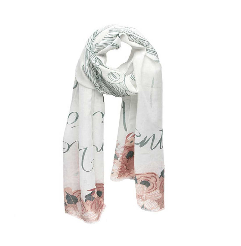 "Mantra Scarf ""Be Present"" Mantra Scarf ""Be Mindful"" Mantra  mindulness mantra affirmations intentions scarf pompom scarf"
