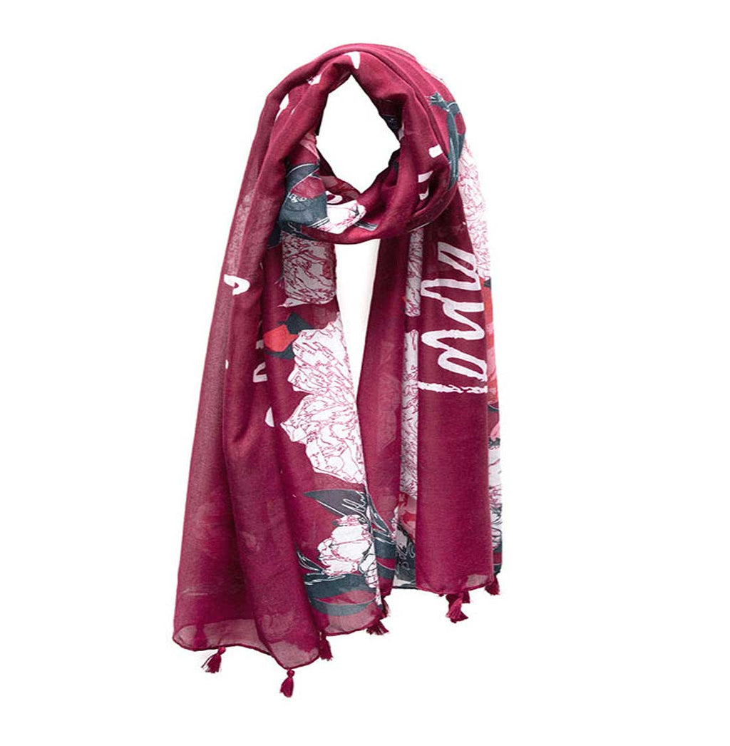 "Mantra Scarf ""Love With All Your Heart"" Mantra Scarf ""Be Mindful"" Mantra  mindulness mantra affirmations intentions scarf pompom scarf"