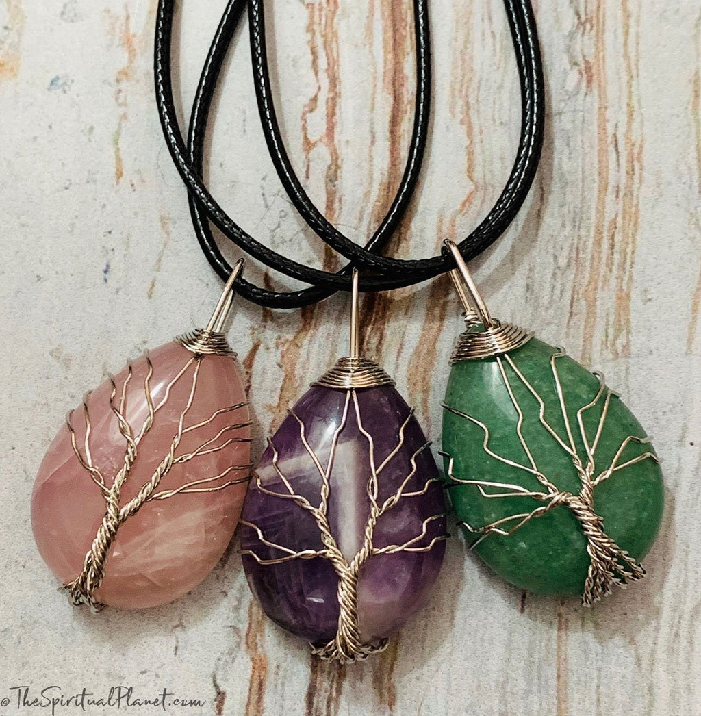 Silver Tree of Life Teardrop Necklace, wire wrapped stone, rose quartz, green aventurine, amethyst, necklace