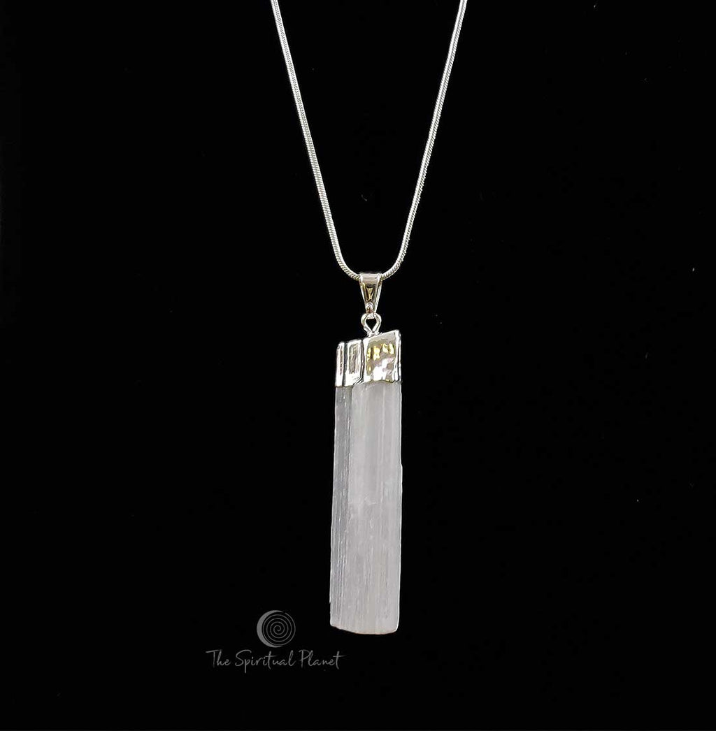 Selenite Necklace, protection necklace, necklace, selenite, jewelry