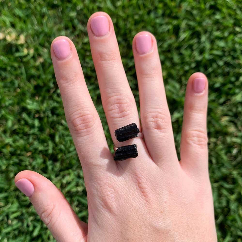 black tourmaline ring crystal jewelry