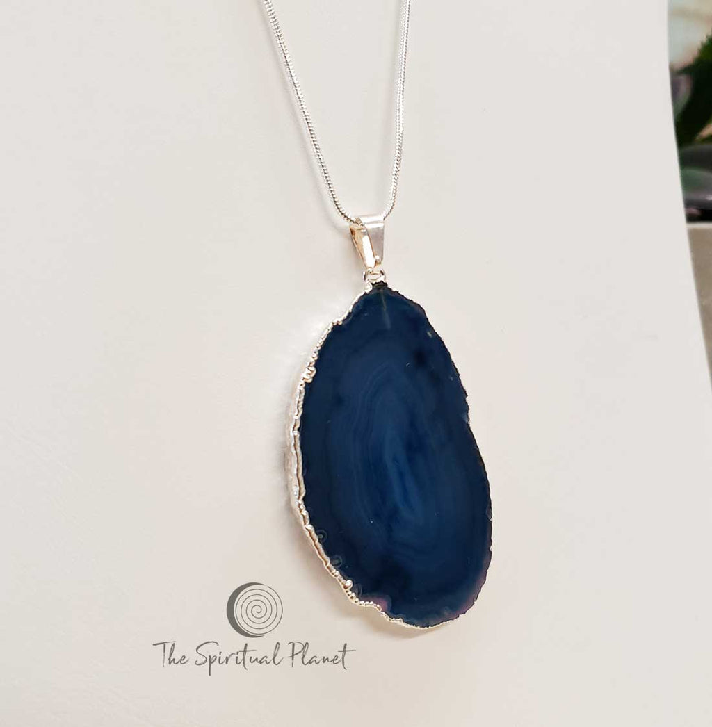 Silver Plated Blue Agate Pendant Necklace, stone necklace, agate, blue stone necklace