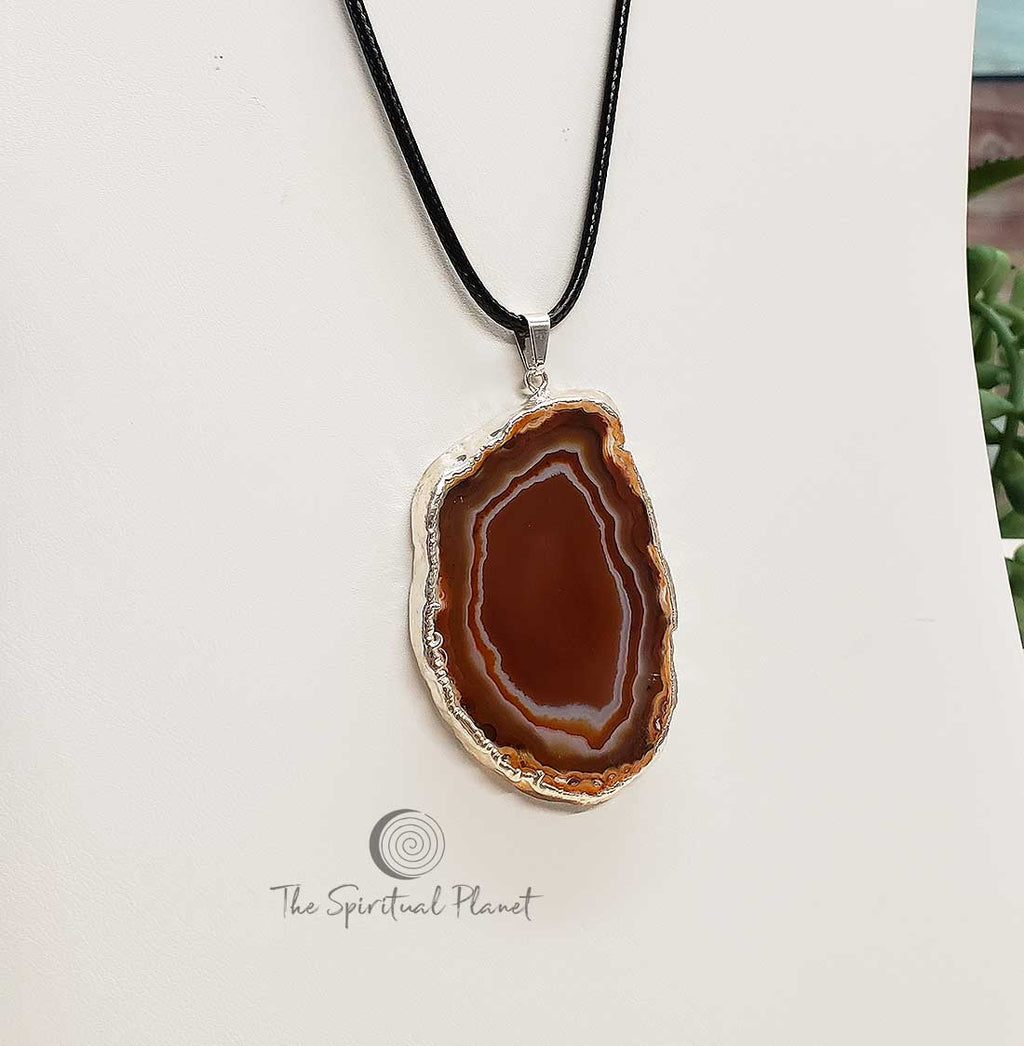 Silver Plated Brown Agate Pendant Necklace Silver Plated Blue Agate Pendant Necklace, stone necklace, agate, blue stone necklace