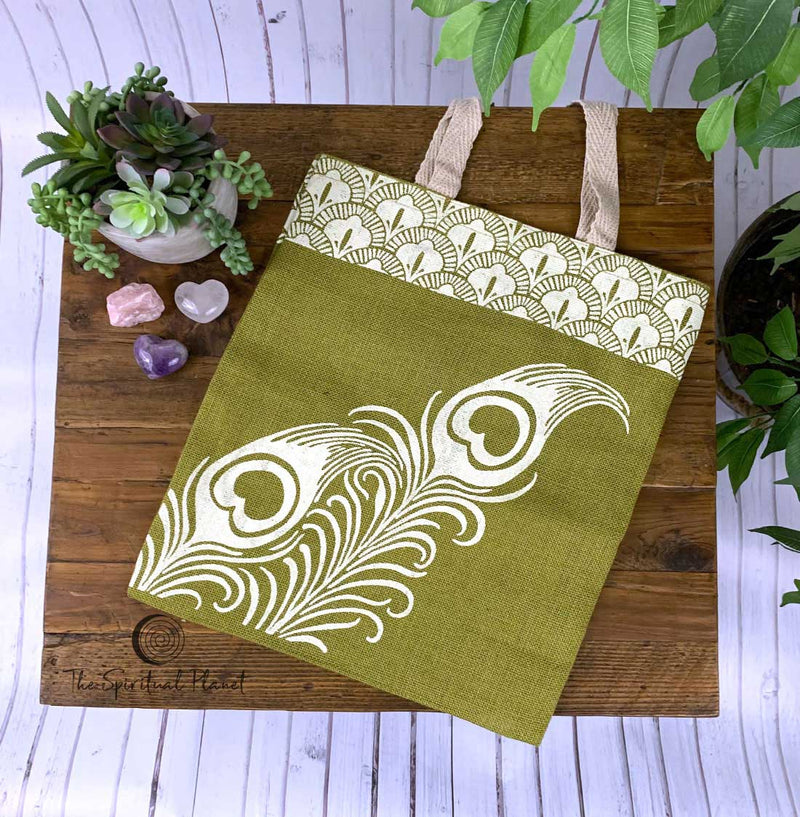 Imprints of India Peacock Feather Jute Tote Bag Totes canvas bag bag eco bag eco friendly reusable bag cotton bag sustainable bag backpack