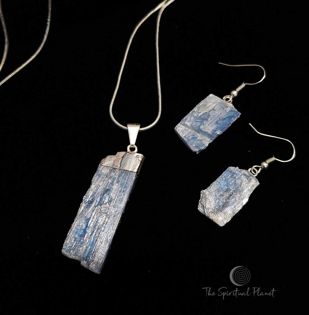 Kyanite Necklace and Earring Set Blue Kyanite Is A High Vibration Stone, Aligns & Clears Chakras jewelry necklace earrings