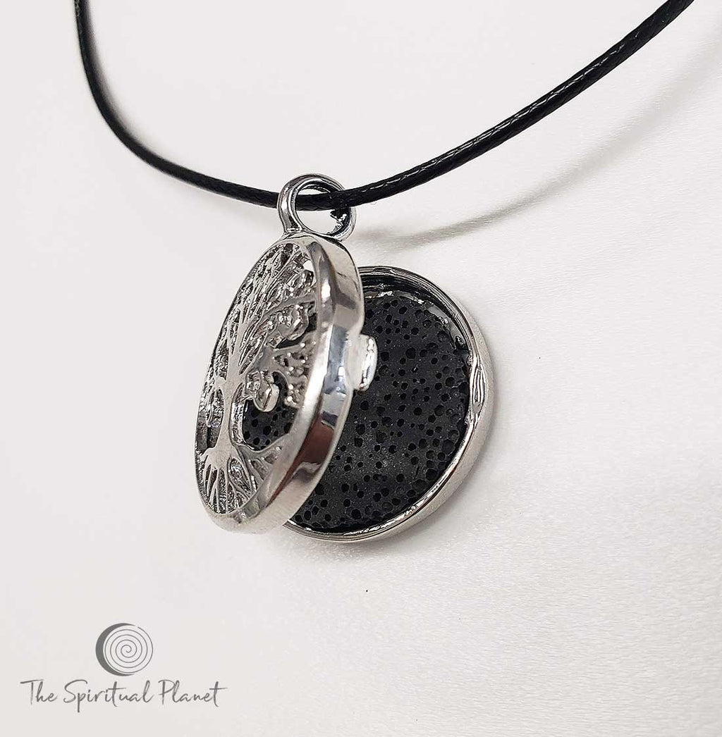 Tree of Life Lava Stone Locket. aromatherapy necklace  essential oil diffuser