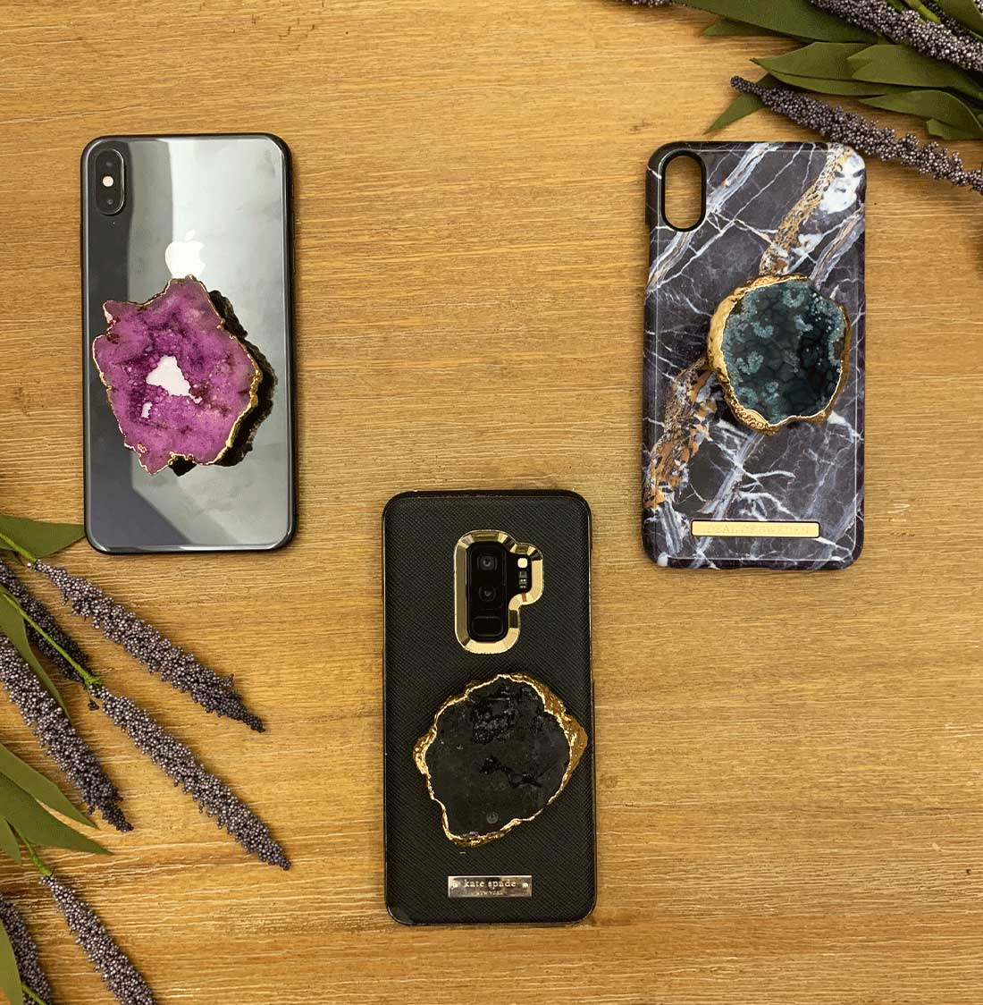 Gold plated Agate,Phone grip Cap,Phone stand Cap,Phone Socket Cap,Agate slices,Agate,Gold plated,Black,Brown