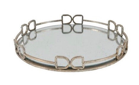 A. D-ring straight bar bit mirrored tray
