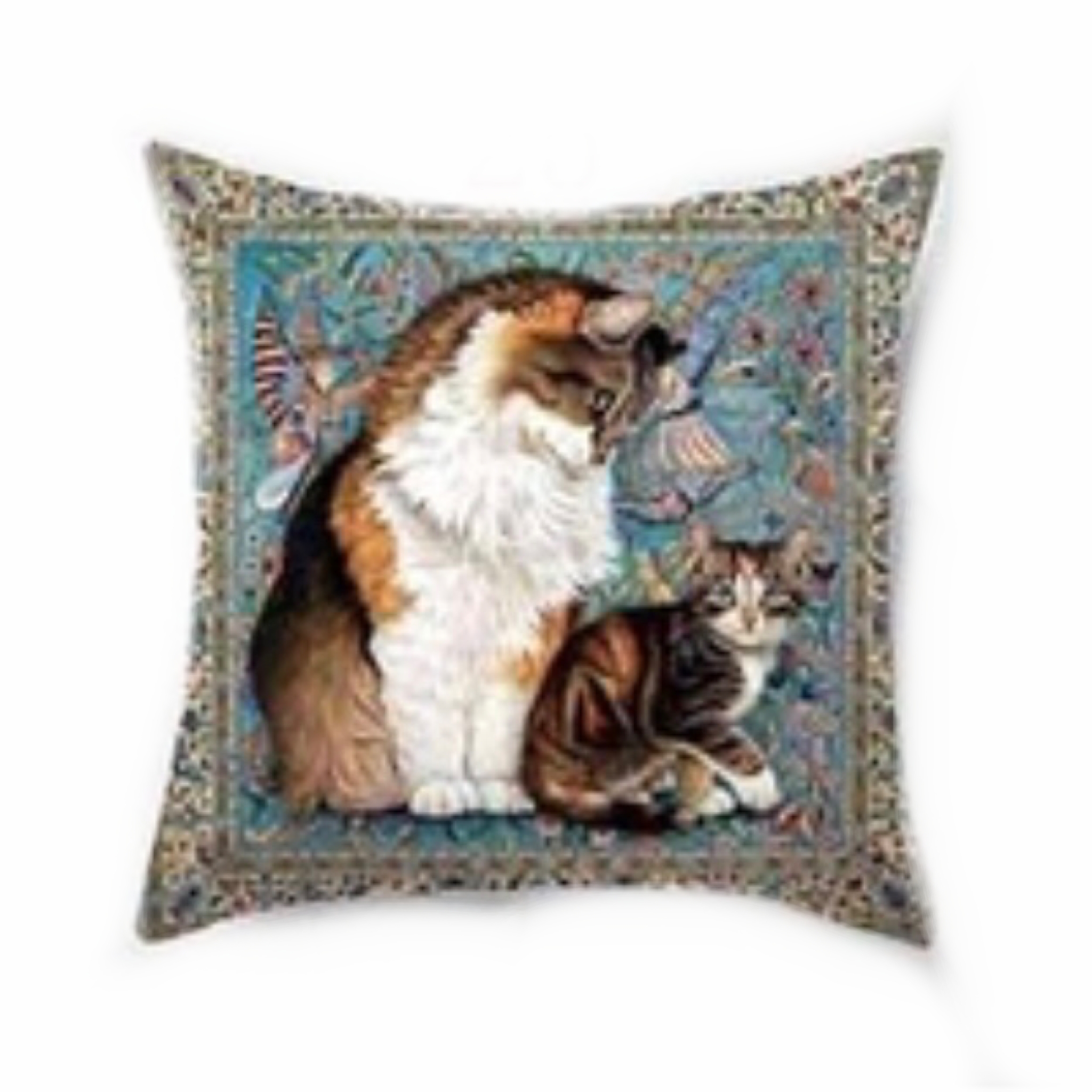Printed cat throw cushion cover
