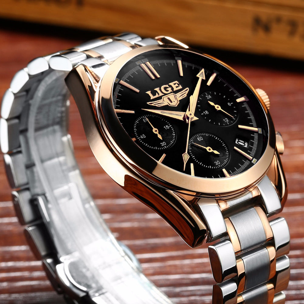 Luxury LIGE Quartz Watch