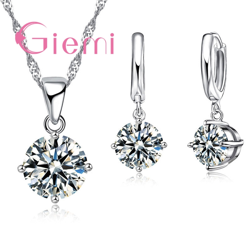2018 Giemi 8 Colors Crystal Pendant Necklace & Earrings
