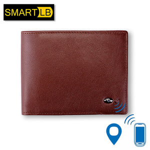 Genuine Leather Men's Smart Wallet with GPS Map, and Bluetooth Alarm