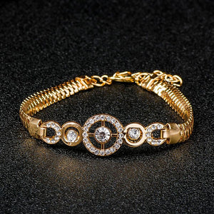 Round Crystal CZ Hand Chain Gold Colored Bracelet