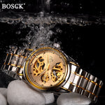 BOSCK Mens Skeleton Automatic Gold Watch