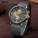 Baogela Mens Chronograph Black Stainless Steel Mesh Strap Quartz Wrist Watch