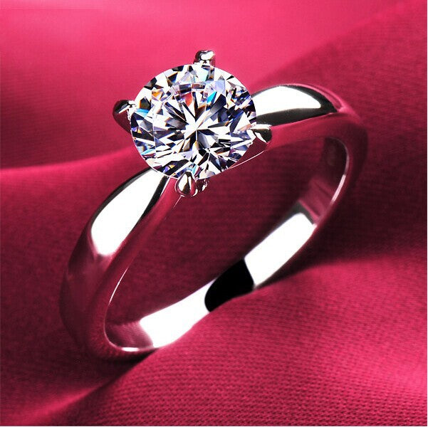 Plating Classic Uplifted 4 Prong Single Zirconia Wedding Ring for Women