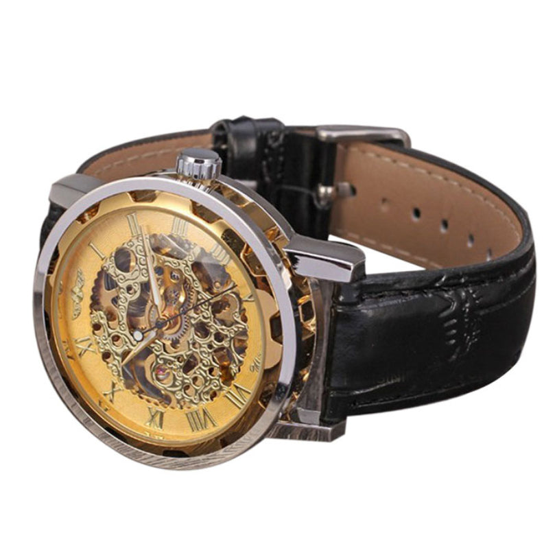 Men's Classic Black Leather Gold Dial Skeleton Mechanical Sport Army Wrist Watch