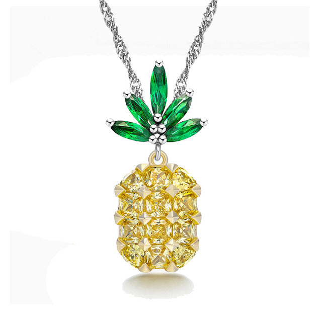 Pineapple Jewelry Set Wedding Necklace and Earrings