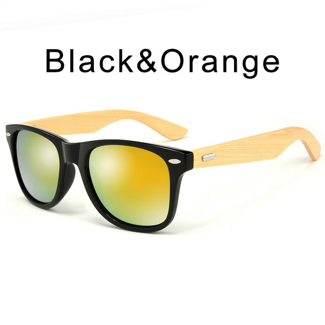 Retro Wood Men and Women's Bamboo Sunglasses With Case