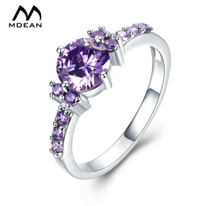 MDEAN White Gold Colored Rings For Women (Zircon Jewelry)