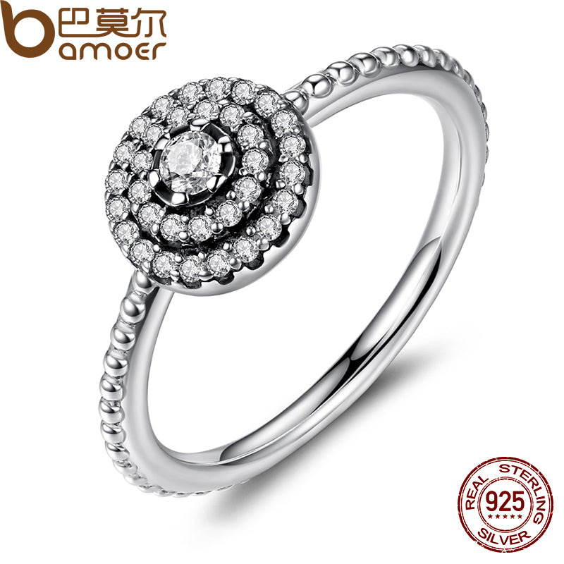 BAMOER Sterling Silver Round Shape CZ Flower Finger Ring
