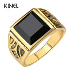 Kinel Dubai Men's Fashion Gold Color Vintage Ring