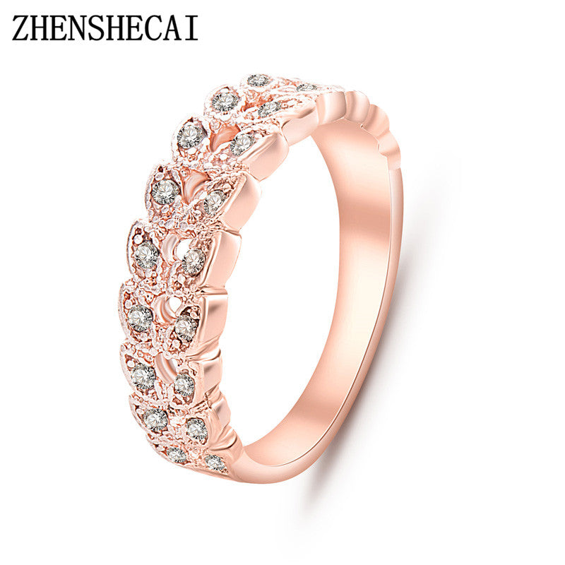 Gold Concise Classical CZ Crystal Wedding Ring Rose Gold Colored Austrian Crystals