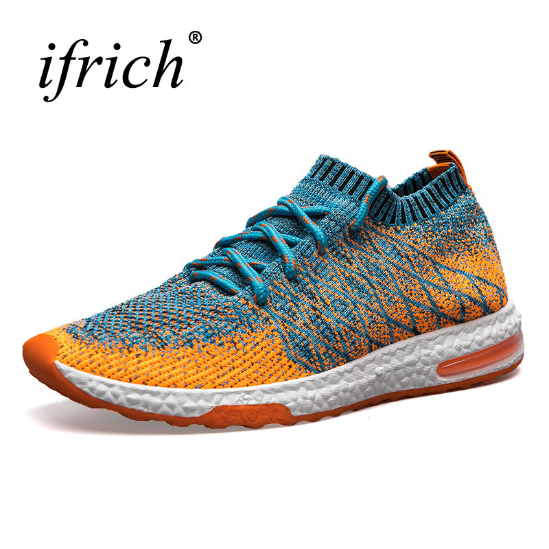 Ifrich Men Running Shoes Gray/Orange Mens Designer Sneakers