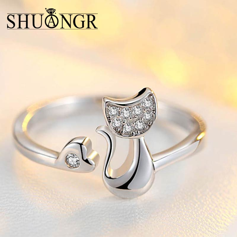 SHUANGR Charm Crystal Cubic Zirconia Crystal Inlaid Cat Ring for Women