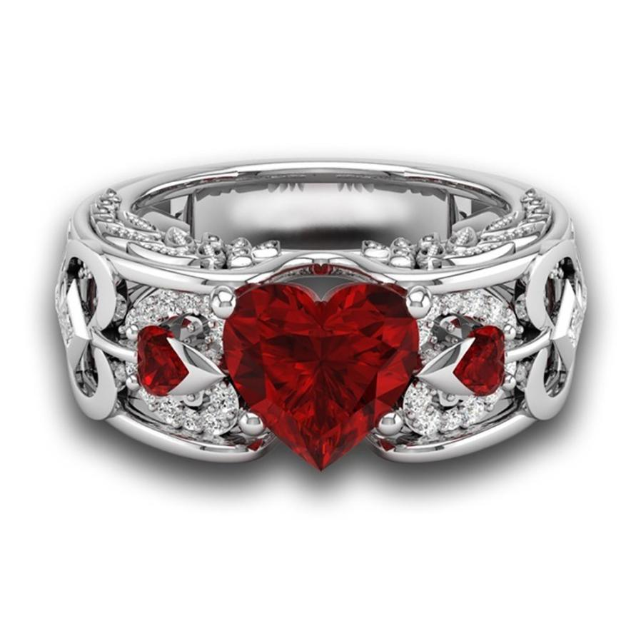 Silver Natural Birthstone Bride Wedding/Engagement Heart Ring